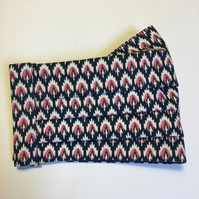 Liberty cotton pleated face covering Ikat design