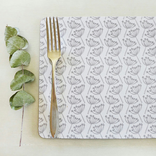 Dove Grey Cow Parsley Placemats