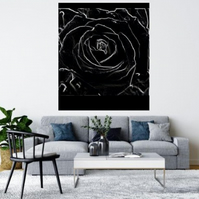BLACK AND WHITE ABSTRACT ROSE.