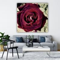 BURGUNDY ABSTRACT ROSE.