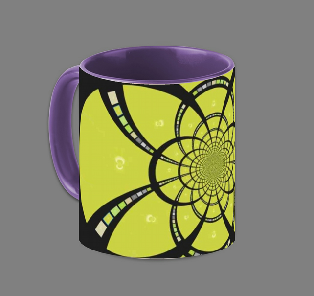 RETRO KALEIDESCOPE MUG;PURPLE INTERIOR.