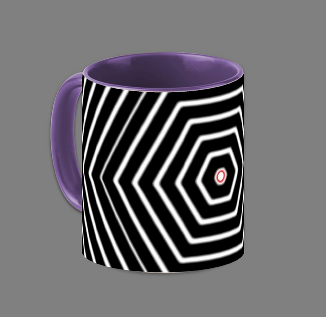 HEZAGON BLACK AND WHITE MUG;PURPLE INTERIOR.