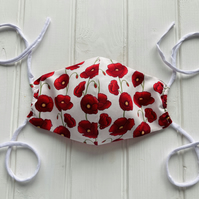 Cotton Face Mask with Filter Pocket - Poppy