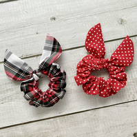 Two pack scrunchies - Argyle Tartan & Red dots