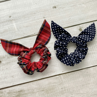 Two pack scrunchies - Royal Stewart Tartan & Navy Blue dots