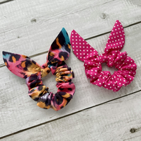Two pack scrunchies - Colour Pop & Magenta dots
