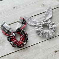 Two pack scrunchies - Argyle Tartan & Grey dots