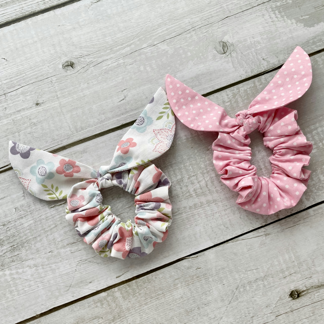 Two pack scrunchies - Flowers & Pink dots