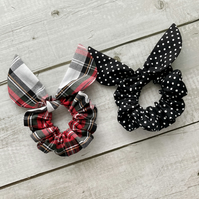 Two pack scrunchies - Argyle Tartan & Black dots