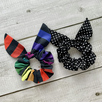 Two pack scrunchies - Multicoloured Stripes & Black dots