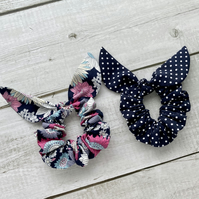 Two pack scrunchies - Flowers & Navy Blue dots