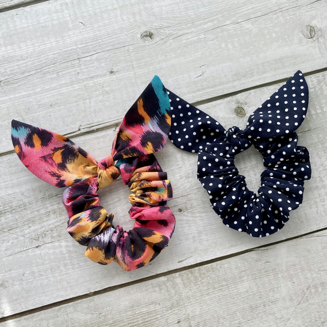 Two pack scrunchies - Colour Pop & Navy Blue dots