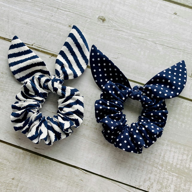 Two pack scrunchies - Navy Blue Stripes & Navy Blue dots
