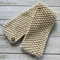 Hand Knitted Chunky Knit Scarf - Cream