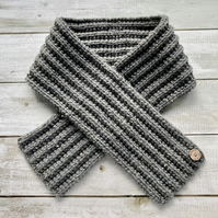 Hand Knitted Scarf - Grey