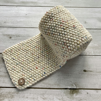 Hand Knitted Scarf - Cream