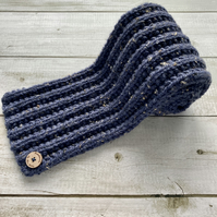 Hand Knitted Scarf - Blue
