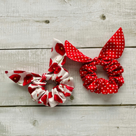 Two pack scrunchies - Poppy & Red dots