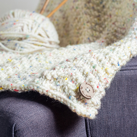 Hand Knitted Baby Blanket - Cream with coloured speckles