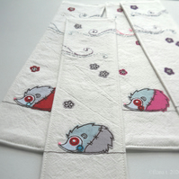 freehand embroidery hand embroidered zombie hedgehog fabric bookmark lilac