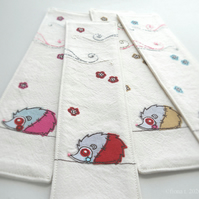 freehand embroidery fabric bookmark zombie hedgehog red