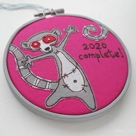 miniature embroidered hoop zombie lemur hot pink