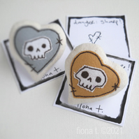 freehand embroidered miniature skull heart brooch MUSTARD