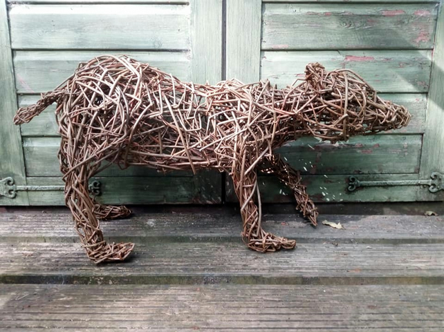 willow, bear, cub, sculpture, willow gift, willow animals, sustainable materials