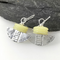 Silver and lemon jasper tribal blade earrings.