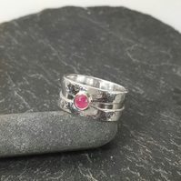 silver and ruby Rill ring U.K. P