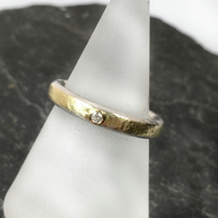 Diamond ring silver and 18ct gold UK size O