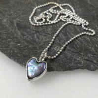 Silver and Pearl heart pendant on 18 inch chain