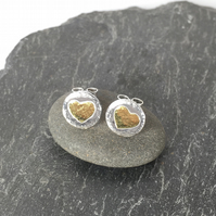 silver and 18ct gold heart stud earrings