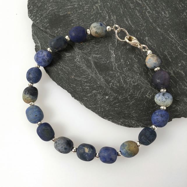 Silver and dumortierite bead bracelet