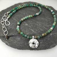 Silver and Cupric chrysocolla Rai necklace