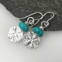 Sterling silver and turquoise Bloom earrings