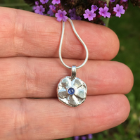 Silver and sapphire flower pendant and chain