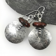 Large round silver and red flame jasper earrings