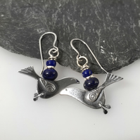 silver bird earrings with Lapis lazuli