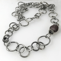 Oxidised Sterling silver handmade chain necklace with raw ruby feature