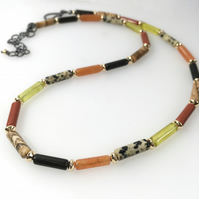 Autumn coloured gemstone silver and gold bead necklace