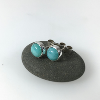 Amazonite stud earrings , sterling silver