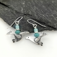 silver song bird earrings with amazonite beads