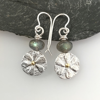 Sterling silver 18ct gold and labradorite Bloom earrings
