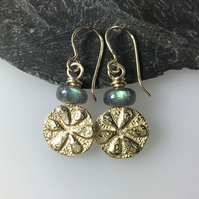9ct gold and labradorite Bloom earrings