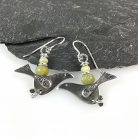 silver song bird earrings with serpentine and butter jade beads