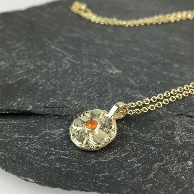 9ct gold and fire opal flower pendant and chain