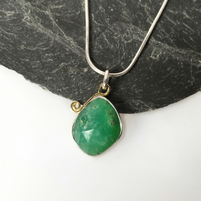 Silver gold and chrysoprase freeform pendant and chain