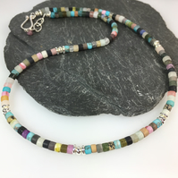 Colourful matte gemstone necklace with silver beads