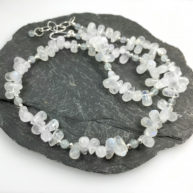 Silver, moonstone and aquamarine bead necklace